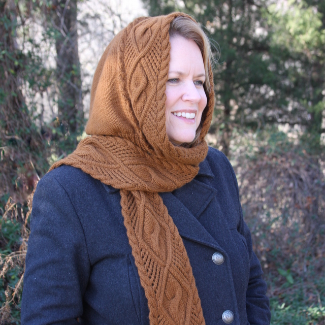 Hooded Circle Scarf Knitting Pattern : Lace & Cable Hooded Scarf Daydreamer Knits